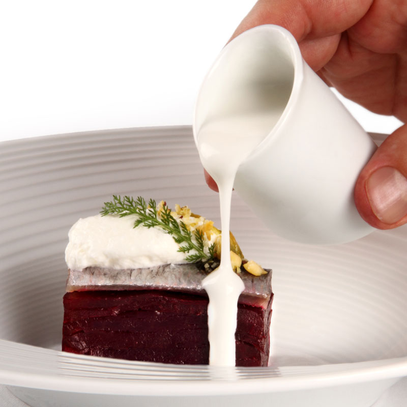 Sardina marinada con gazpachuelo Malagueño